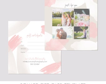 INSTANT DOWNLOAD, Square Gift Certificate Template, 5x5 Photography Template, Watercolor, Easy, Front & Back, Double sided, Photography