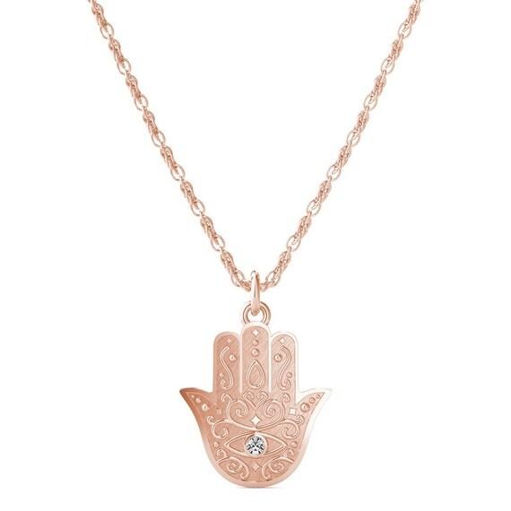 items similar to diamond hamsa hand necklace evil eye. Black Bedroom Furniture Sets. Home Design Ideas