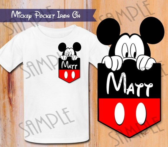 shirt disney mickey mouse pocket iron on transfer printable birthday. Black Bedroom Furniture Sets. Home Design Ideas
