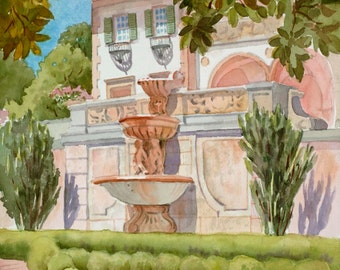 Phillbrook Museum of Art Tulsa Oklahoma,watercolor painting,house commission,painting from photo,historic home painting,acrylic,pen and ink