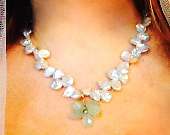 White Keshi Pearl Necklace with Aquamarine Flower Charm, GP 925 Silver