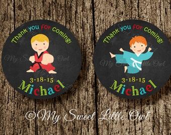 Chalkboard Karate sticker - Karate cupcake topper - taekwondo - karate label - martial art birthday - karate baby shower- karate printable