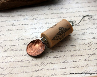 Wine Cork Art Keychain Tree Ornament Upcycled Recycled Nouveau Deco Victorian Edwardian Steampunk Downton Abbey Gatsby antique Decoration
