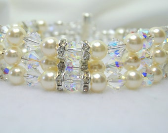 Cream Crystal Pearl 3 Strand Crystal Bracelet