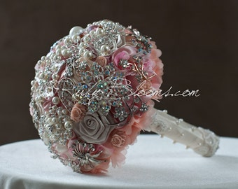 """Country Rustic Wedding brooch bouquet. """"Pink Country"""" Crystal Pink, Pearl Brooch Bouquet. Country Wedding, Rustic Bridal broach bouquet"""