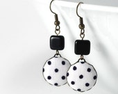 Dangle Earrings - Love In The Afternoon - Classic and Romantic Black and White Polka Dots Fabric Covered Buttons Jewelry with Czech Beads