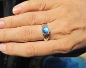 Size 8.75 Small Rainbow Moonstone Ring set in Nickel Free .950 Silver, Super Quality Moonstone Semi Precious Gemstone Jewelry