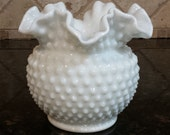 Fenton Milk Glass Hobnail Vase with Ruffled Edge