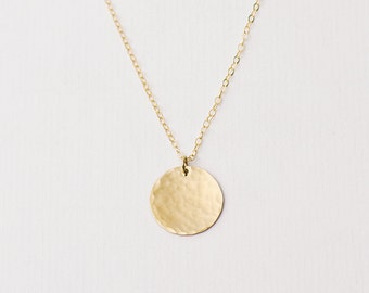 Gold disc necklace etsy aloadofball Image collections