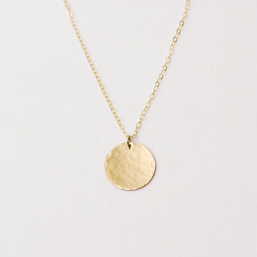 large hammered gold disc necklace gold circle necklace