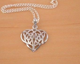 "925 Silver Celtic Heart Pendant & 18"" Sterling Silver Chain/Celtic Jewellery/Celtic Necklace/Celtic Jewelry/Celtic Knot Necklace/925 Celtic"
