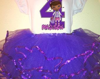 Doc McStuffins Dress 2 Pc Purple Tutu outfit 1T,2T,3T,4T,5T,6T,7T