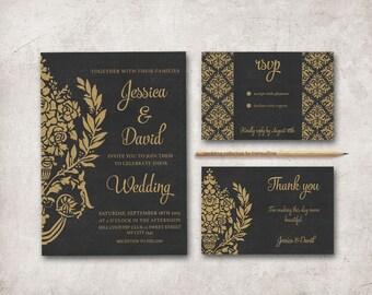 Black and Gold Wedding Invitation Printable, Wedding Invitation Suite, Damask Wedding Invite, Gold Black Art Deco Wedding Invitation