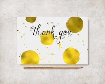 Gold Thank You Card Printable, Baby Shower Thank you Card, Wedding Thank you, Birthday Thank you Card, Printable Thank you Card, Digital