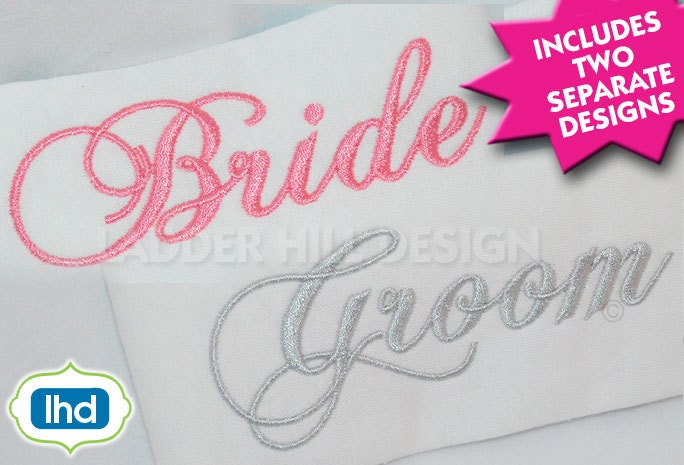 Bride and groom wedding embroidery design wed