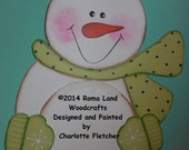 Original Handpainted Snowman that would look ADORABLE on a front door, Green, Can be Personalized as You wish