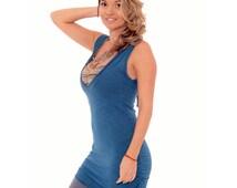 Yoga Top, Tank Top, Organic Clothing, Yoga Clothes, Organic Tunic, Sleeveless Tunic, Sport Top, Blue Tunic,Organic Tank Top, Gift for Mother