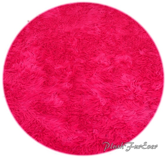 Hot Pink Mongolian Faux Fur Nursery Area Round Rugs Sheepskin