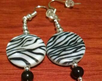 Round Zebra Stripe Earrings Item No. 111