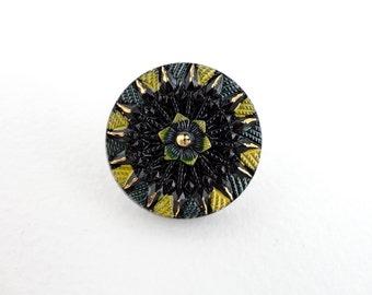 Czech Glass Button - 27mm Black, Yellow and Gold Flower Czech Glass Button BUT0003
