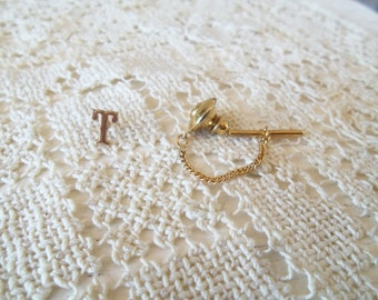 Vintage 14k Gold Letter T Monogram Tie Tack