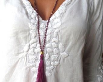Crystal Mala Tassle Necklace - Merlot