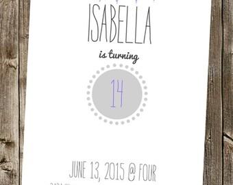 Birthday Invitation- Circles + Banner - Cute & Simple