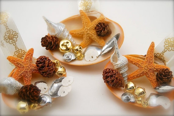 3 Natural Clam Shell, Sand Dollar, and Star Fish Ornament, Beach Ornaments, Christmas Ornaments
