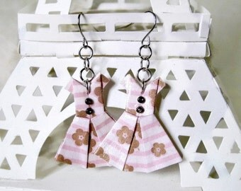 Origami Jewelry - Paper Dress Earrings - Paper Anniversary - Paper Jewelry - Origami Earrings - WY02