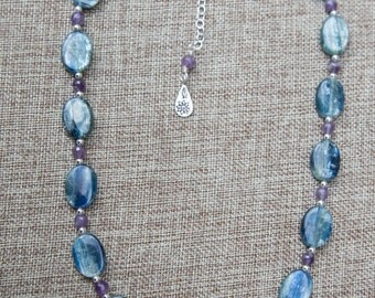 Shimmery blue Kyanite and faceted purple amethyst necklace with sterling silver spacer beads and extender chain w/Hill Tribe Charm