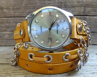 Leather wrap watch, womens watch, Bracelet Watch, leather watch with chain, Tan watch, tan leather watch