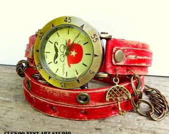 Wrap Watch, Bracelet Watch, Wrist Watch, Vintage Watch Mustache Leather Bracelet, red