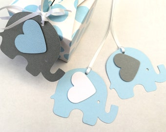 Elephant Baby Shower gift tags Blue & Grey. For gifts, first birthday, party favors, treats, gift bags. Baby boy shower, gender reveal.