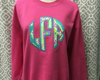 Adult Sweatshirt With Large Applique Monogram
