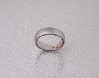 antler ring titanium ring wedding band round profile ring armor included