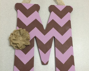 Handpainted Letter M in Lavender & Chocolate Brown