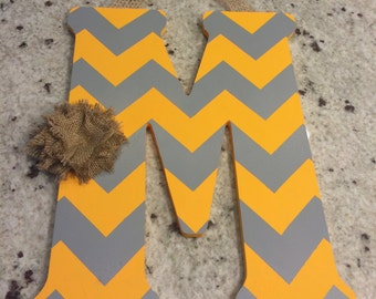 Handpainted Letter M in Yellow & Gray