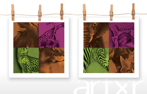 SAFARI ... 2 PACK of 10x10 Prints ... Zebra Cougar Elephant Cheetah Gazelle Leopard Rhino Giraffe