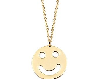 Happy Face 14k Solid Gold Disc Necklace Smile Necklace