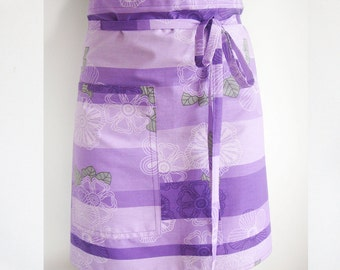 Cotton Apron, half apron, cotton half apron, printed cotton, natural apron, kitchen, ready to ship, natural apron, purple cooking apron