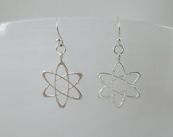 Carbon atom silver earrings - Diamond - geekery dangle earrings