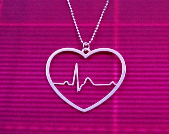 Heart beat necklace - heart rhythm - EKG - Valentines day - ecg - sterling silver chain