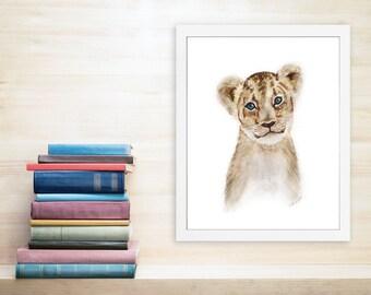 Lion Art, Nursery Art, Lion Cub, Childrens Wall Art, Wildlife Print, Lion Watercolor, Baby Lion, Animal Portrait, Baby Room Decor - 11x14