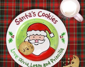 Cookies for Santa Plate - Kids Personalized Ceramic Plate - Hand Painted - Merry Christmas - Milk for Santa Mug