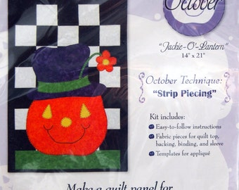 Jackie-O'-Lantern By Roberta Elliot October Technique Strip Piecing Learn To Quilt Wall Hangings Applique Wall Quilt Kit 2010