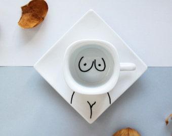 Ceramic Espresso cup with Saucer in Body design