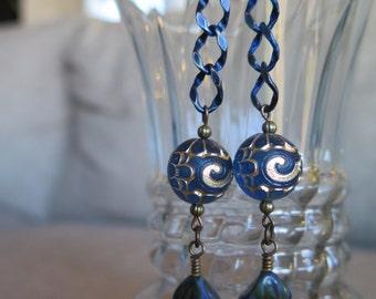 blue earrings, sapphire blue earrings, royal blue earrings, chain earrings, very long earrings, festive earrings, Dark blue earrings, unique