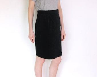 90's black velvet Italian pencil skirt, black high waisted skirt, grunge skirt, office secretary skirt, midi skirt