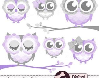 Purple Owl Baby Shower Clipart, Lavender owl Clip Art, Graphics