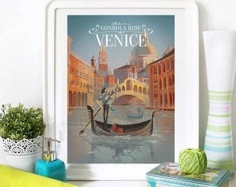 Venice Travel Poster, Venice Poster, Venice Print, Venice, Travel Print, Venice Italy, Venice Wall Art, Venice Painting, Venice Decor
